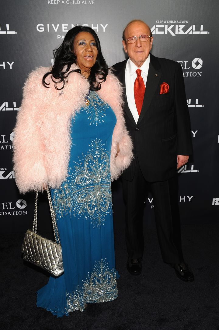 Musical greats Aretha Franklin and Clive Davis take a photo op.