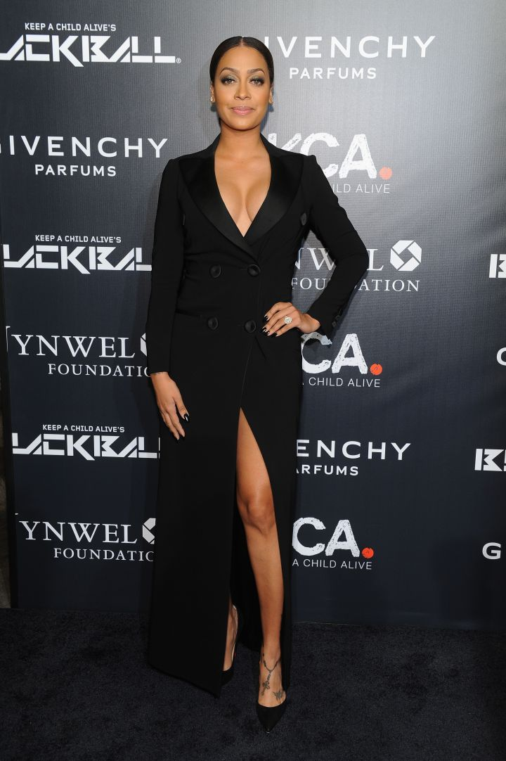 La La Anthony suits up in a double-breasted dress by Moschino.