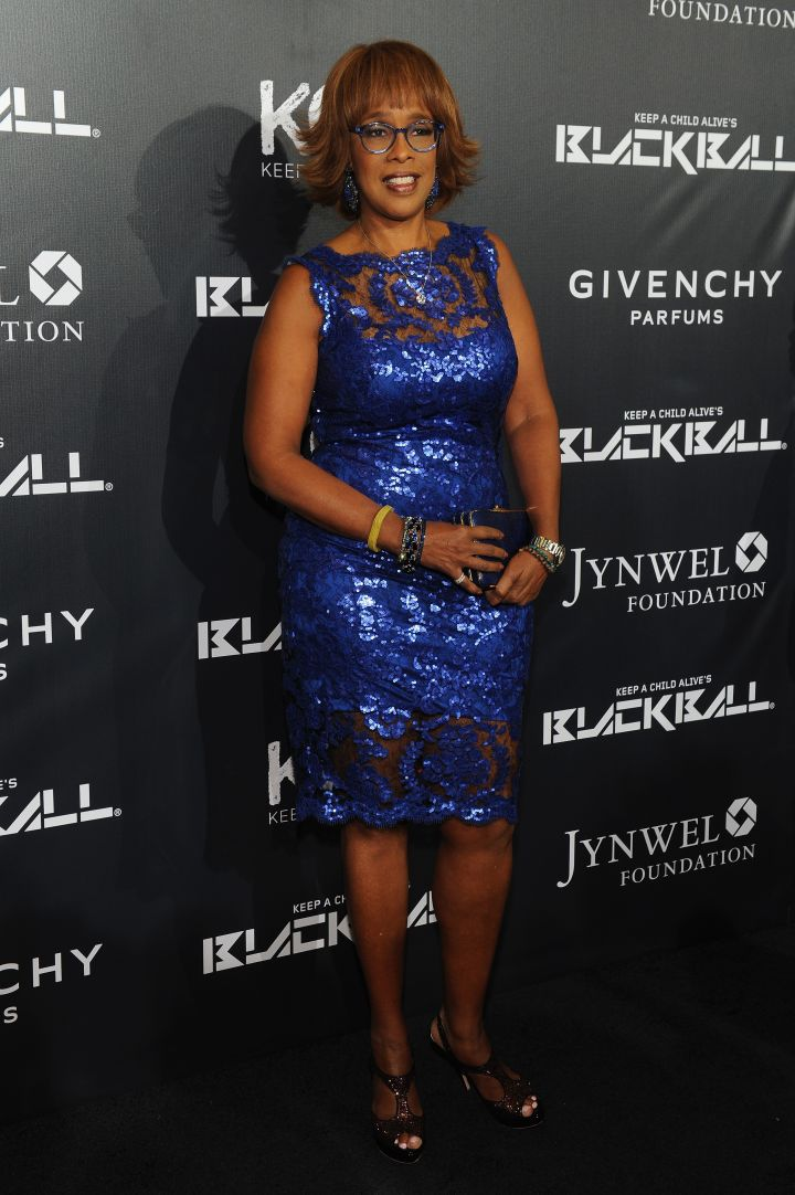 Gayle King has the blues in a sparkly number.