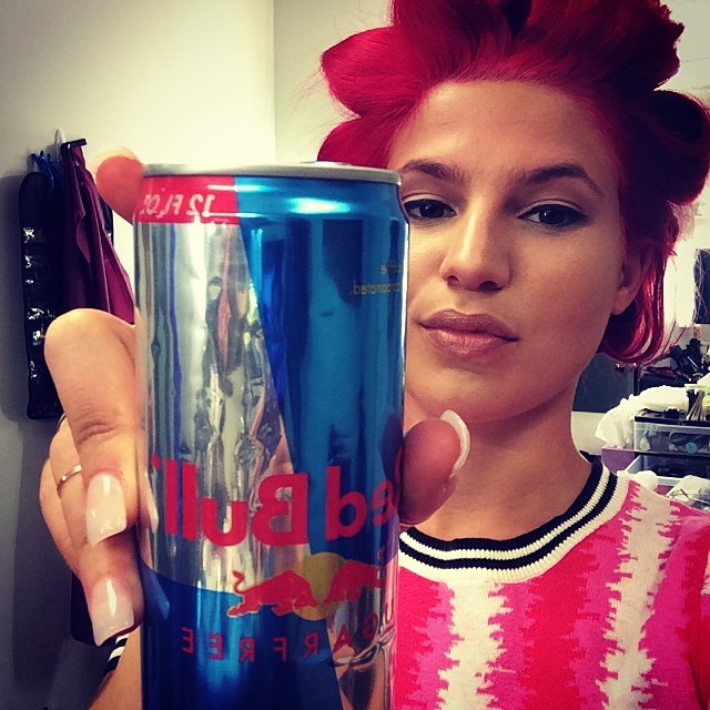 Red bull for the red-haired beauty.