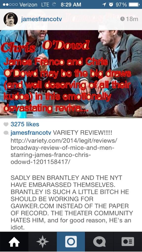 JAMES FRANCO BLASTS NYTIMES CRITIC OVER BAD REVIEW (2014)