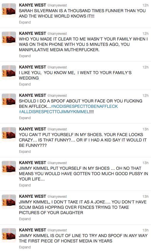 KANYE WEST COMES AFTER JIMMY KIMMEL (2013)
