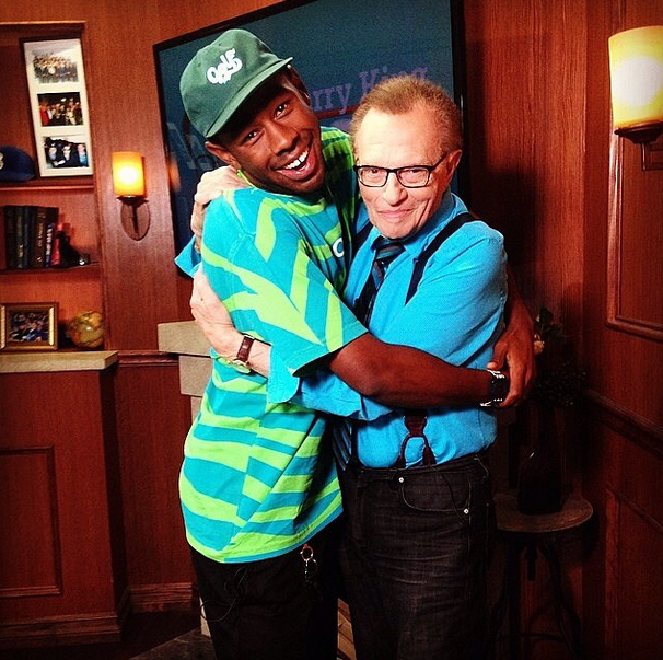 This is Tyler, The Creator embracing Larry King.