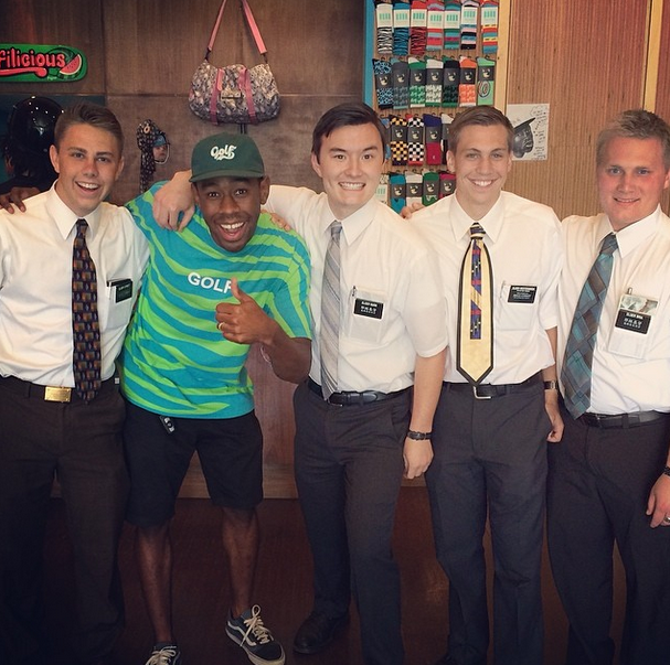 This is Tyler, The Creator and a group of Mormon men.