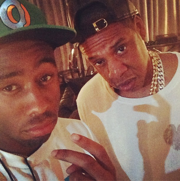 This is Tyler, The Creator in a very rare selfie with Jay Z.