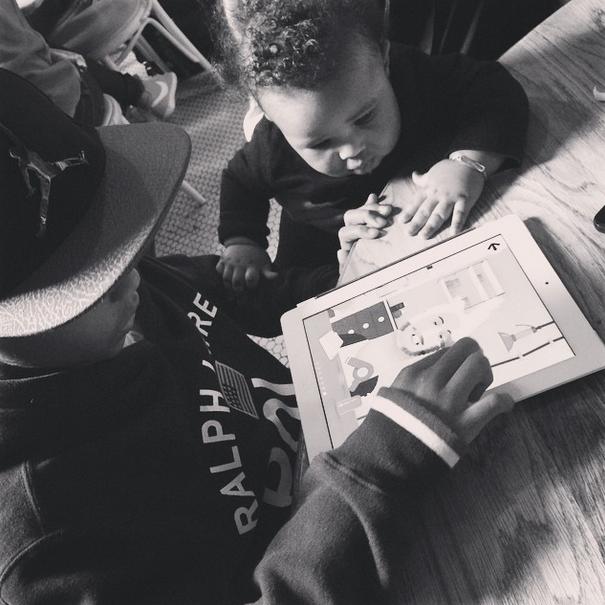 Kiyan bonds with baby Future.