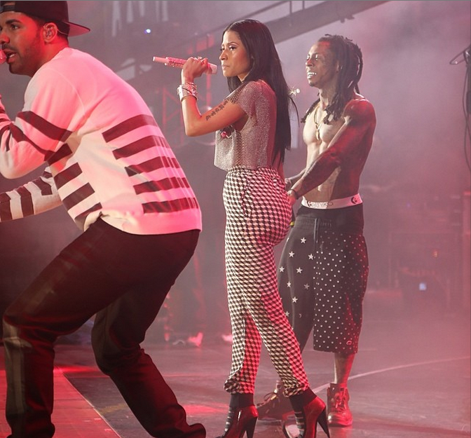 Nicki Holding Her Own With The Boys.