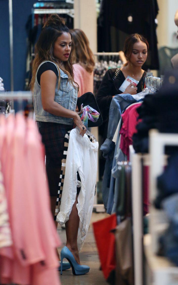 Christina Milian and Karruche hit up Kitson for Tina Turn Up's reality show