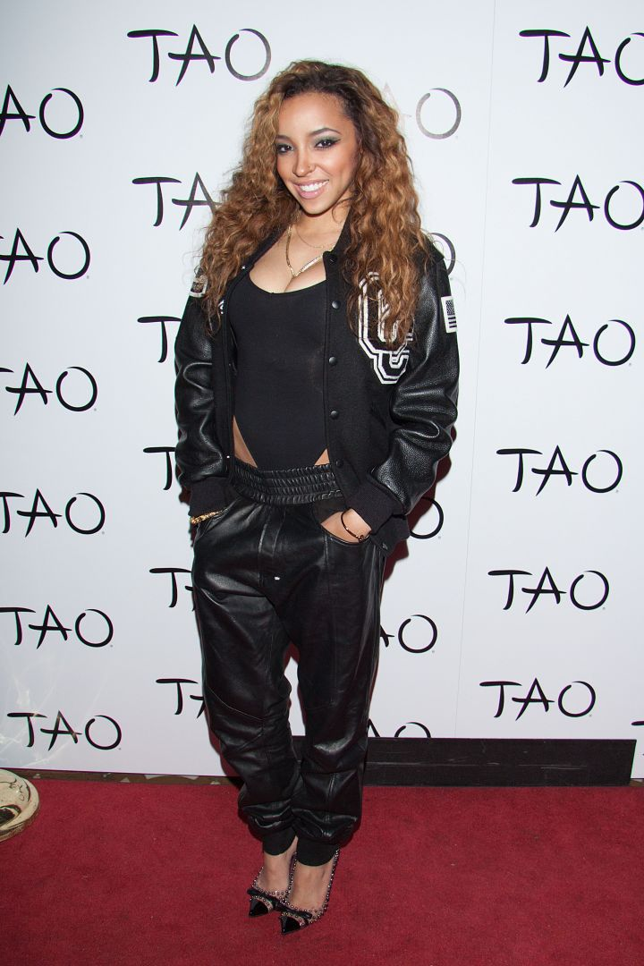 "Tinashe is all smiles and ready to get ""2 On"" at her ""Aquarius"" album release party at Tao."