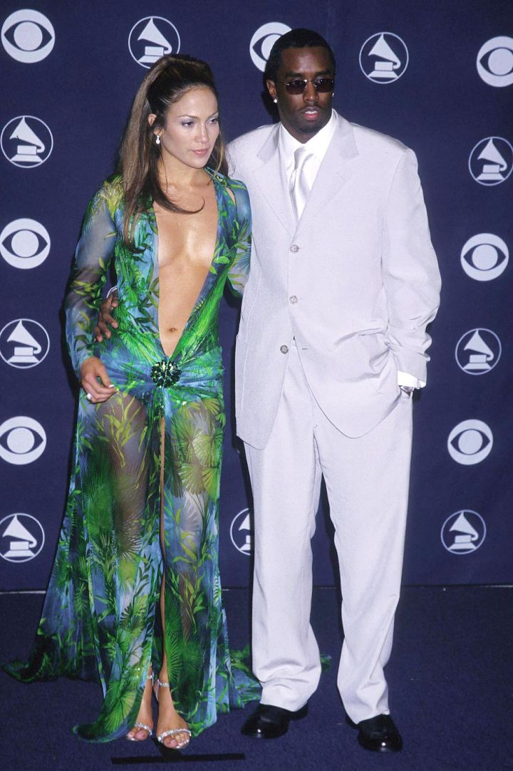 """Jennifer Lopez & Sean """"Puffy"""" Combs do it up at the 42nd Annual Grammys."""