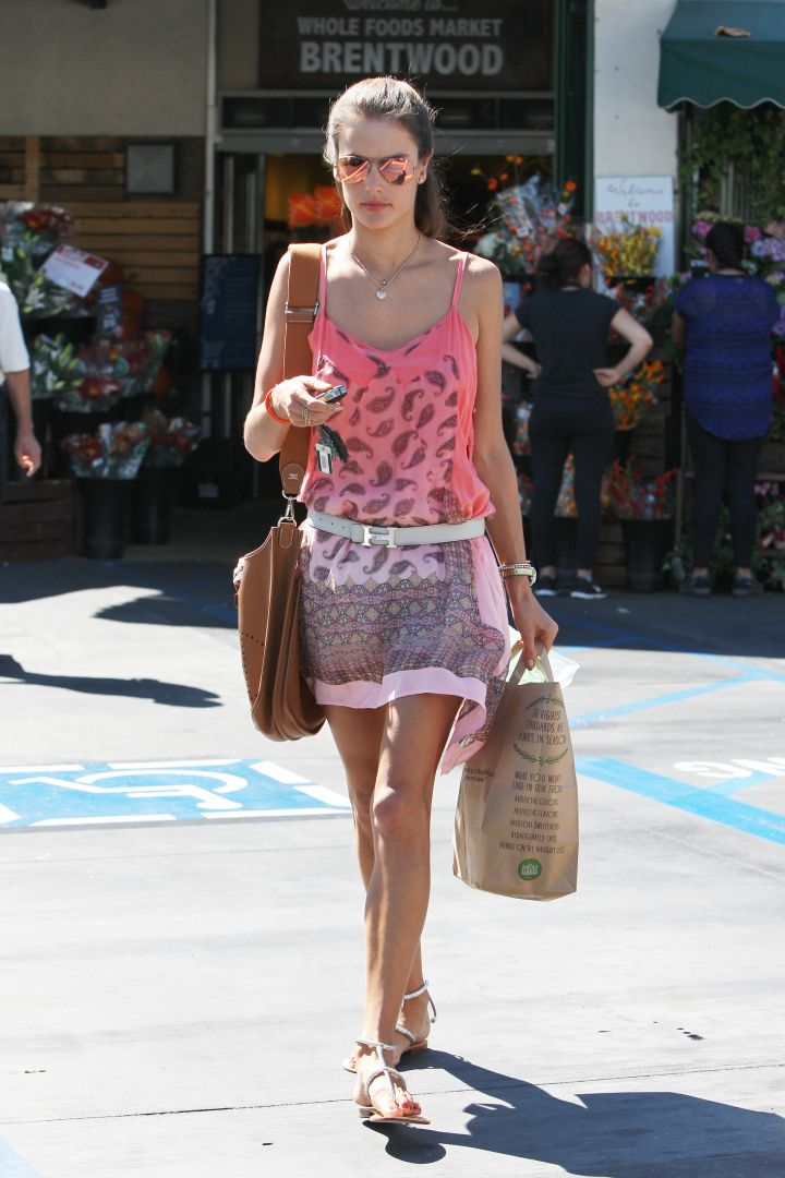 Alessandra Ambrosio brings out the pastels after casting her vote in Brazil's Presidential Election.