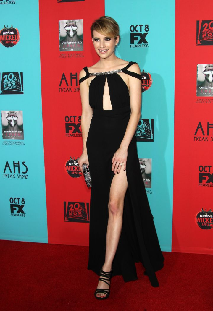 """Emma Roberts shows some leg action while at the premiere of """"American Horror Story: Freak Show."""""""