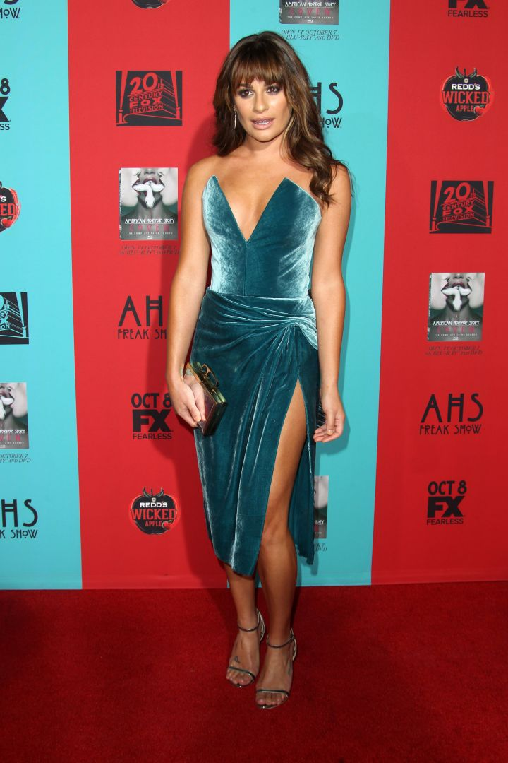 """Lea Michele shows off her slim and trim figure at the premiere of """"American Horror Story: Freak Show."""""""