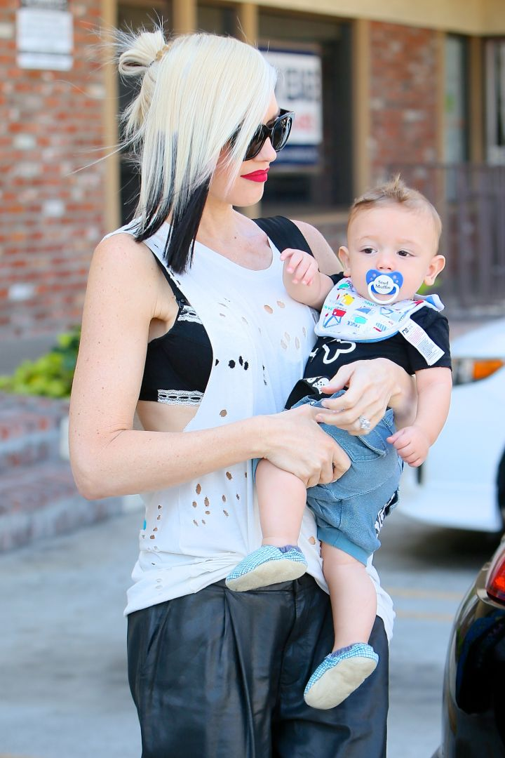 Gwen Stefani and her youngest son, Apollo Rossdale, paint the town red.