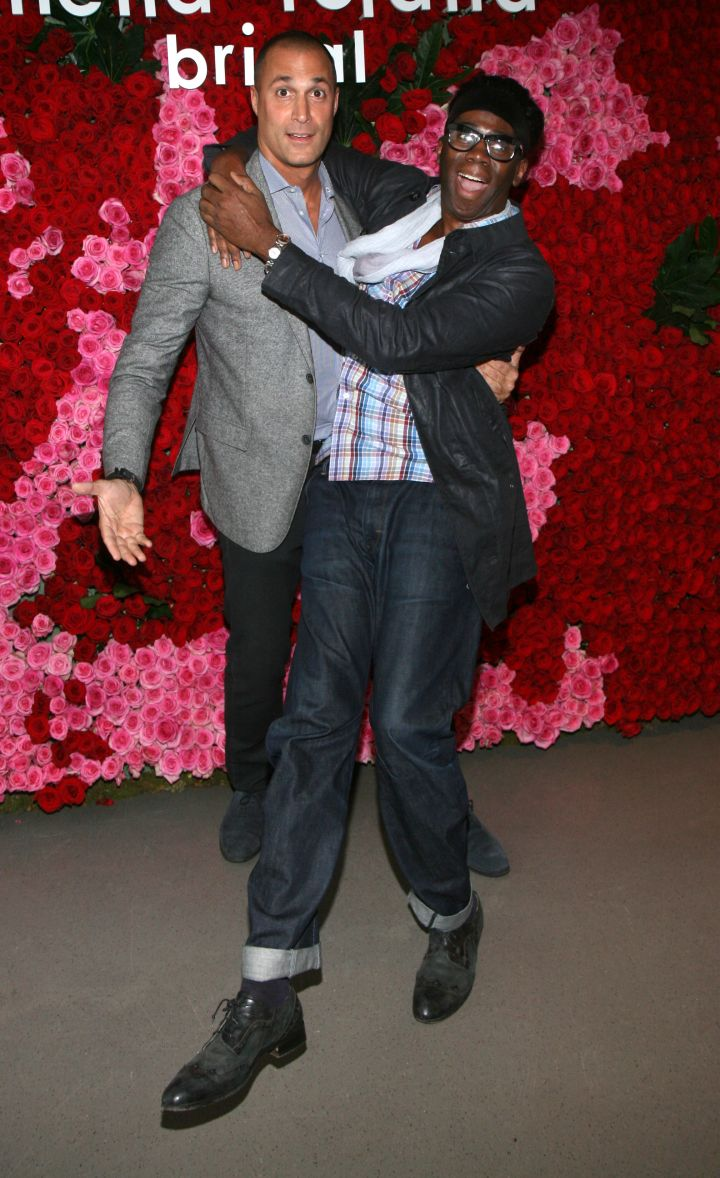 Nigel Barker and J. Alexander hug it out before heading in to the Pamella Roland Fall 2015 bridal show.