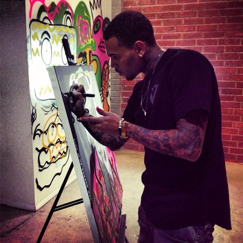 Chris Brown works on Andy Warhol Collaboration Piece With Karen Bystedt