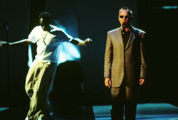 In honor of his deceased friend, Diddy, accompanied by Faith Evans and Sting, danced his heart out at the 1997 MTV Awards.