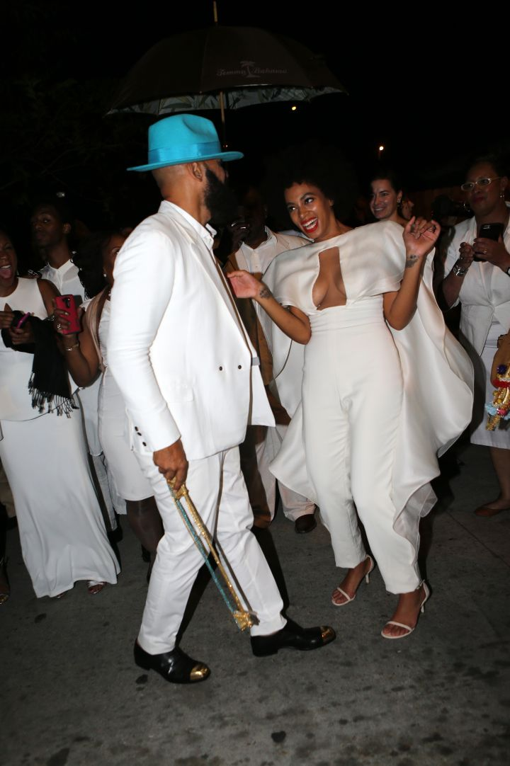 Newly wed Solange and Alan Ferguson enjoy post-wedding celebrations.