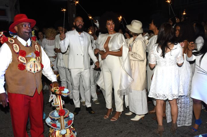 Solange and Alan Ferguson celebrate their big day on the streets of New Orleans.
