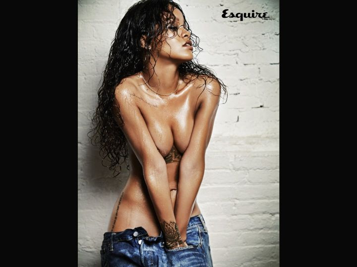 Rihanna oiled up for Esquire.