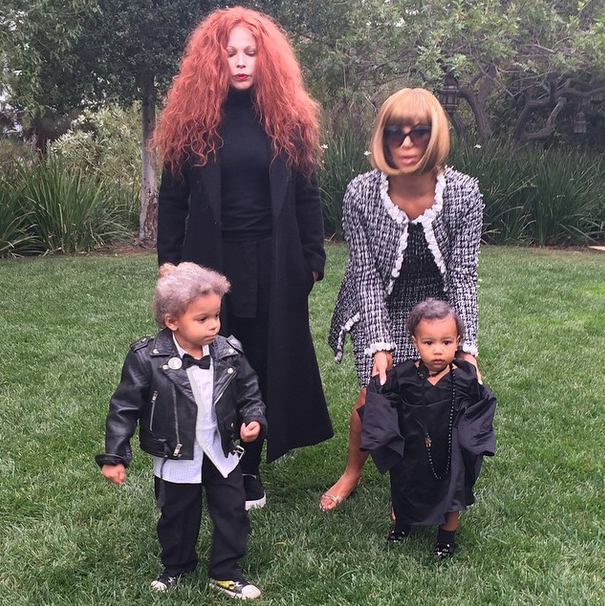 Kim Kardashian dresses as Anna Wintour, along with North and friends.