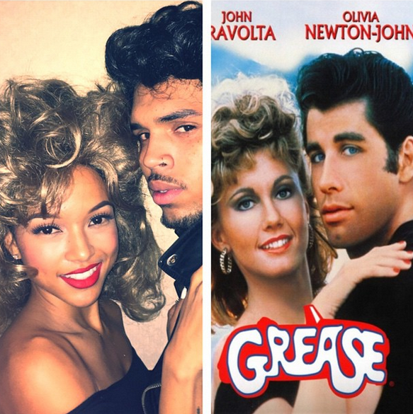 Chris Brown and Karrueche dive into the 'Grease' classic.