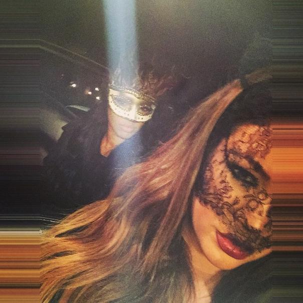 Khloe Kardashian shows off her and Malika's mask game.
