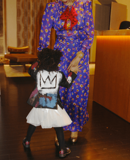 Peep this adorable painted leather jacket made especially for Bey and Jay's little Picasso baby by Ron Bass.