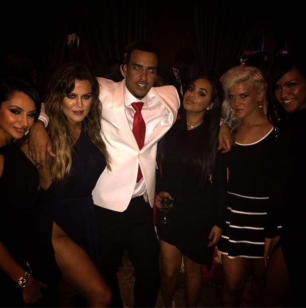 French poses with Khloe, Lauren London, and more ladies at his birthday party.