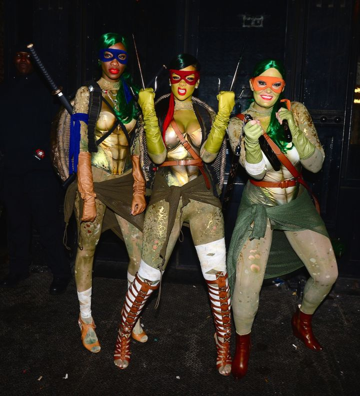 Rihanna and her friends slay in their sexy Ninja Turtles costumes.