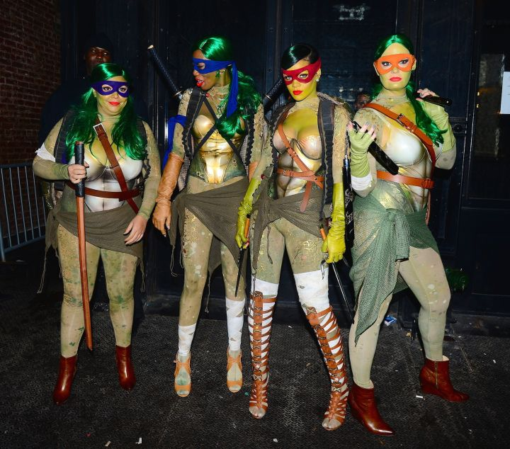 Rihanna and friends get a group shot of their Ninja Turtle costumes.