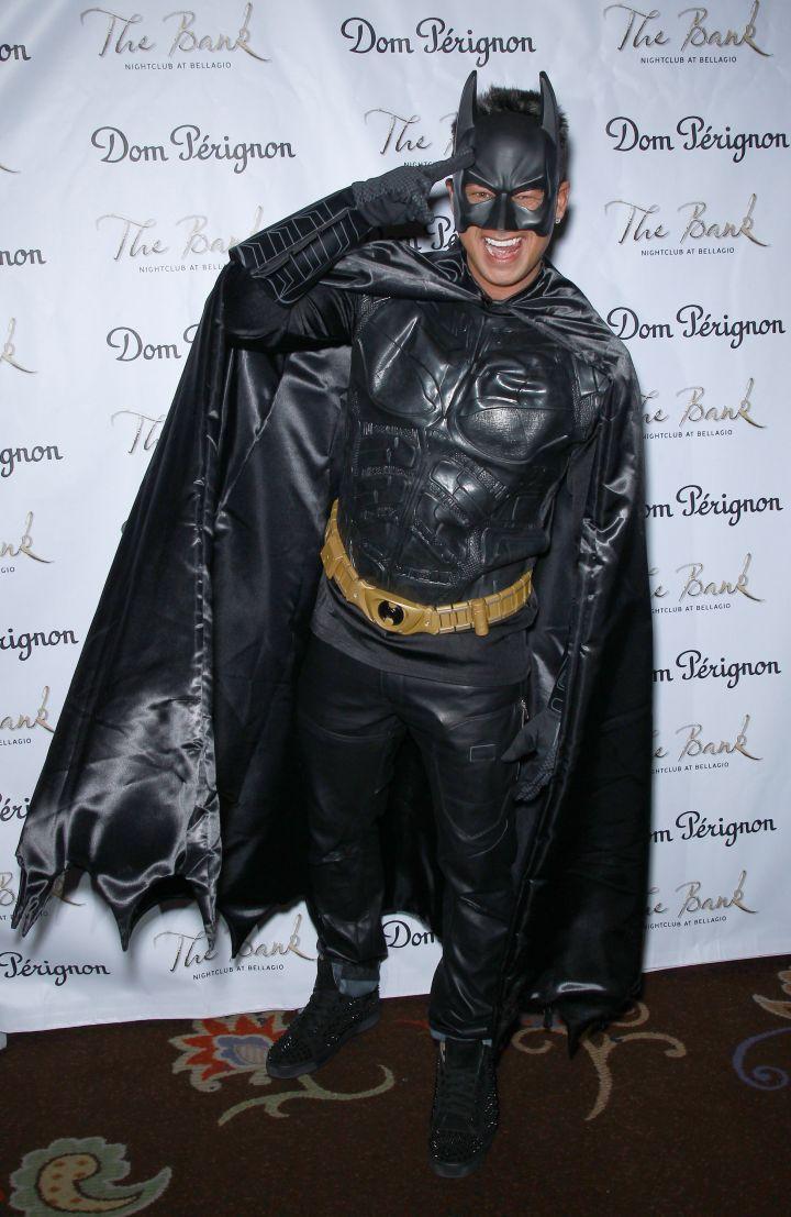 DJ Pauly D dresses up as Batman for a Halloween event.
