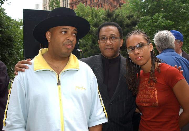 Rev Run, Minister Benjamin Chavez Muhammad, and Alicia Keys at the Mobilization for Education Hip-Hop Summit Action Network's protest of Mayor Michael Bloomberg's proposed education budget cuts.