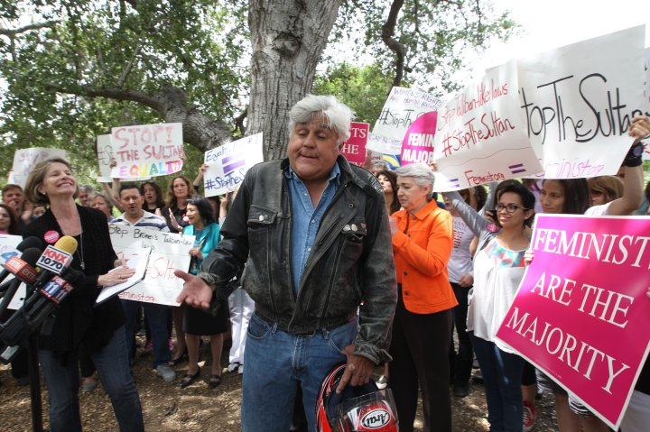Jay Leno protested the Brunei Hotels in Beverly Hills.