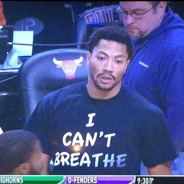 "During the warm-up session for the Chicago vs. Golden State game, Chicago Bulls superstar Derrick Rose was seen rocking a t-shirt that read ""I Can't Breathe,"" in honor of Eric Garner."