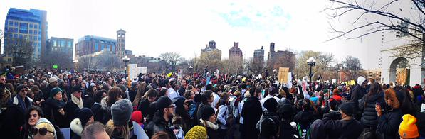 Thousands gather in Washington Square Park before the march.