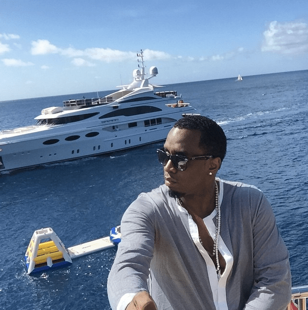 Diddy shows off his lavish style with the selfie stick.