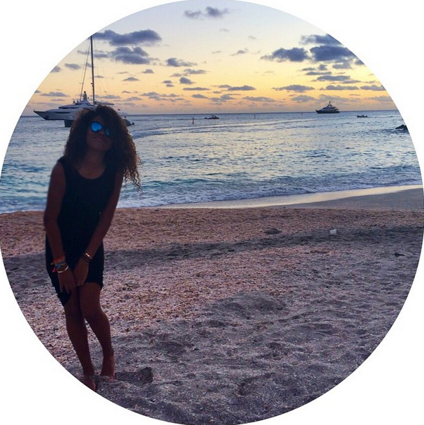 Ming Lee shows off the gorgeous St. Barts sunset.