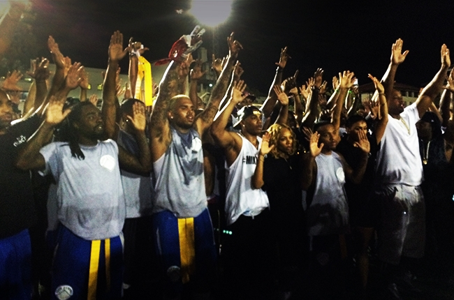 Chris Brown, Wale, Nelly and a few more celebs posed with their hands up in support of Mike Brown.