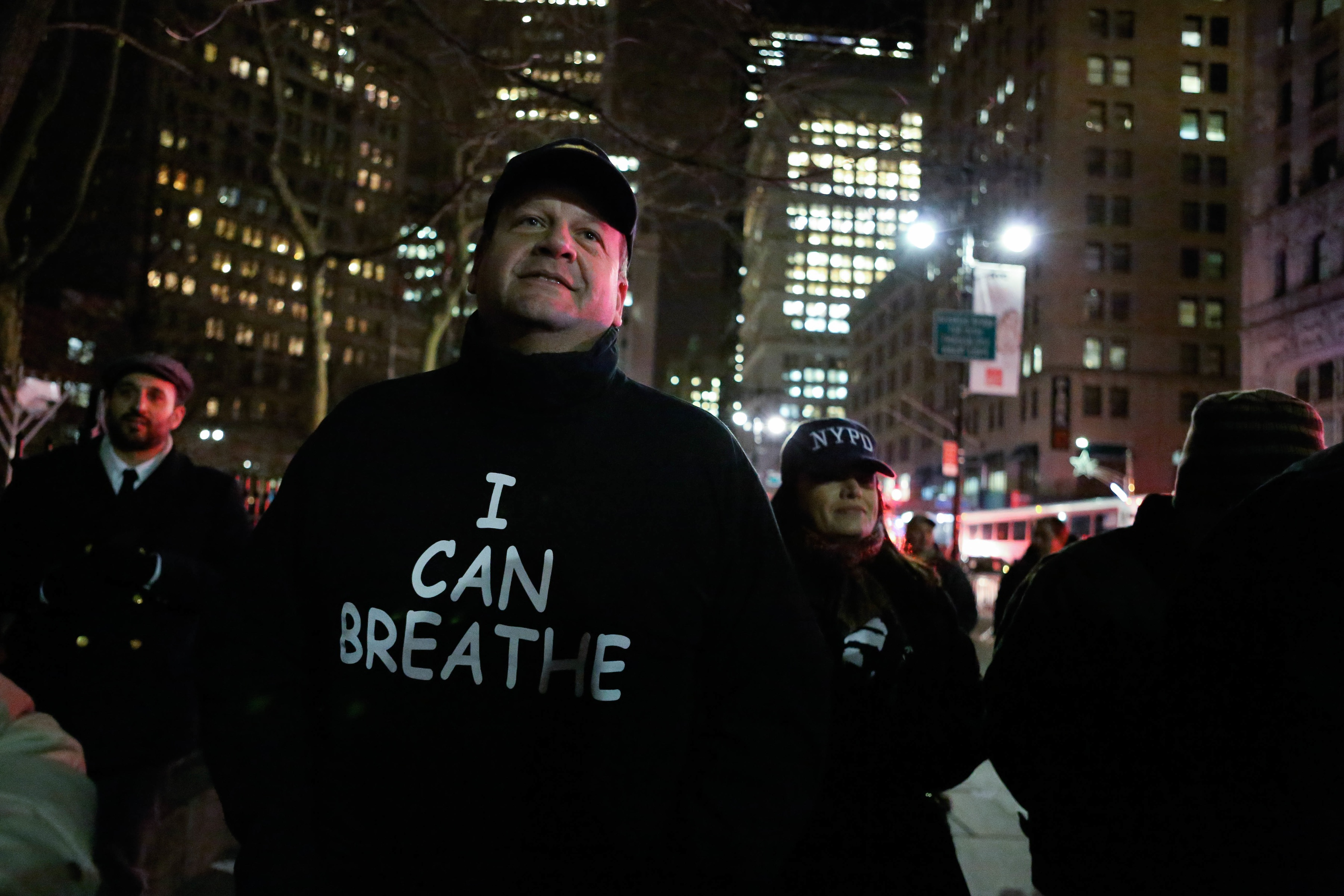 Pro-NYPD Rally in New York City attended by Anti-police brutality protestors