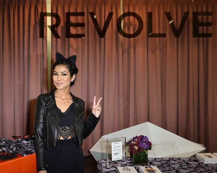 Jhene Aiko flashed the peace sign with clothing brand Lovers & Friends at The REVOLVE Grove Pop-Up Store.