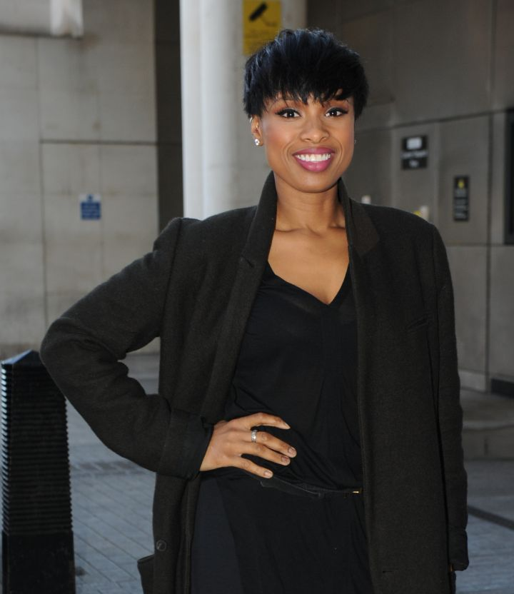 Jennifer Hudson was all smiles at the BBC Radio 1 studios.