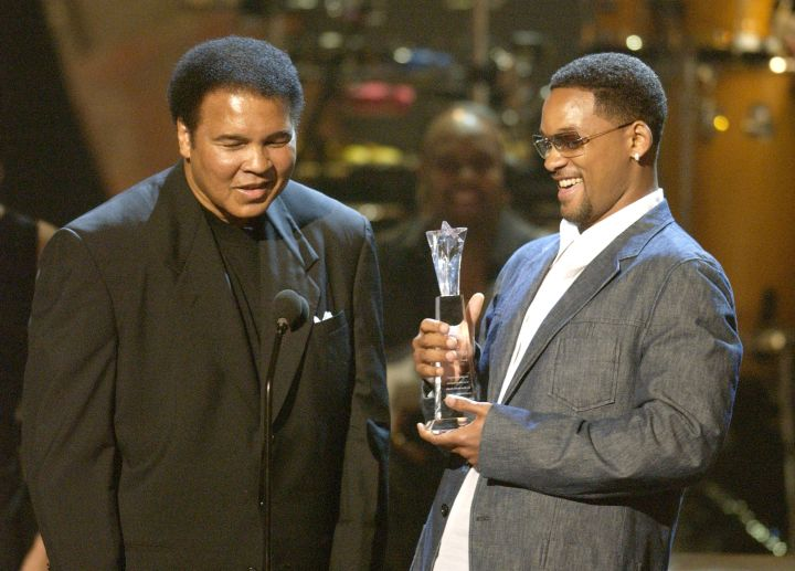 Will Smith and Ali on stage together to promote the biopic based on his life.