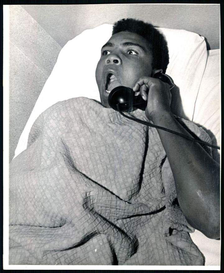 After a night of making Denver, and Sonny Liston in particular, aware of his presence, Cassius Clay and troupe found accommodations at the Albany Hotel. The Denver Post caught him in bed Tuesday morning asking for the time of day and telling hotel employees what a great night he had Monday on the Liston home's front lawn.