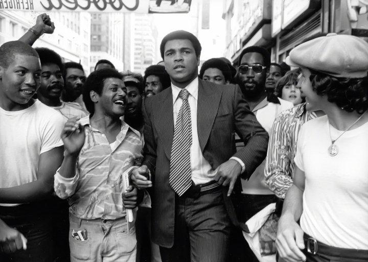Muhammad Ali on 42nd Street circa 1970s in New York City.