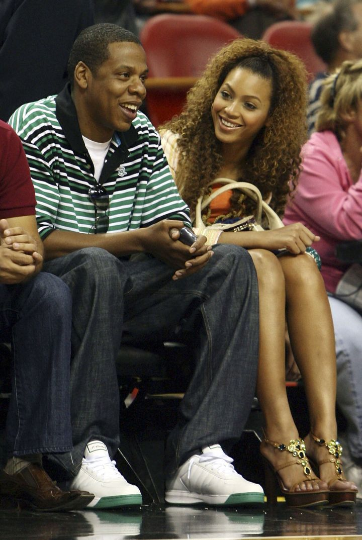 Young Bonnie n' Clyde have fun at a Toronto Raptors vs. Miami Heat game.
