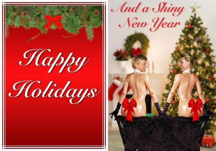 Dont't forget the time she did her rendition of breaking the internet by copying Kim K's infamous PAPER Magazine cover for her and wife Portia's Christmas card.
