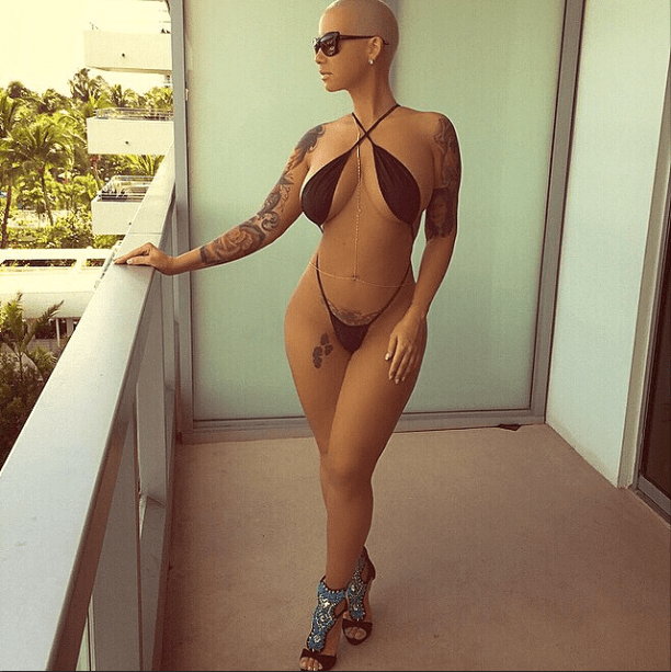 Amber Rose shows off her flawless body in Miami.