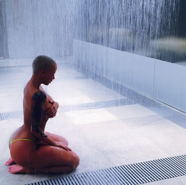Amber Rose goes nearly nude.
