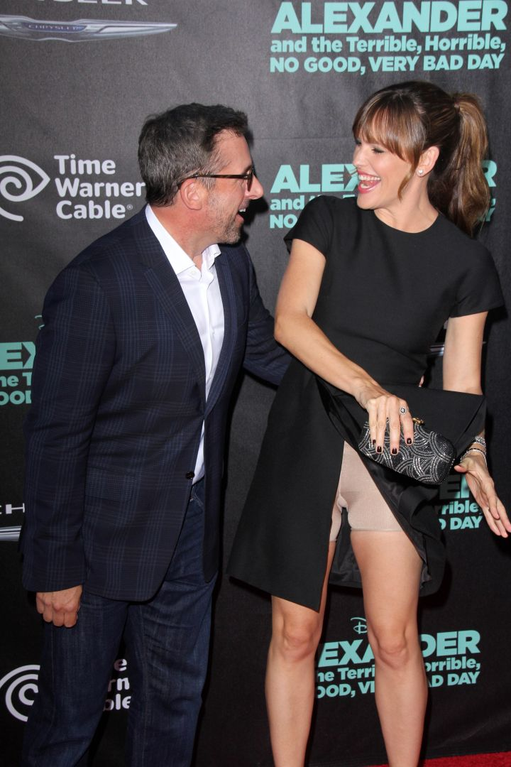"Jennifer Garner has a wardrobe malfunction at the ""Alexander and the Terrible, Horrible, No Good, Very Bad Day"" Premiere in Hollywood."